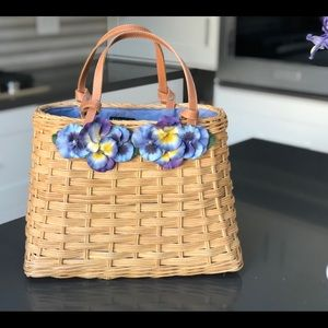 Authentic Kate Spade Pansy Wicker Tote Handbag